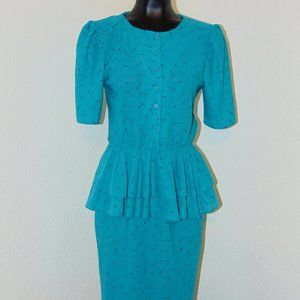Vtg 80s Teal Peplum Deisgn Dress by Karat Club sz7